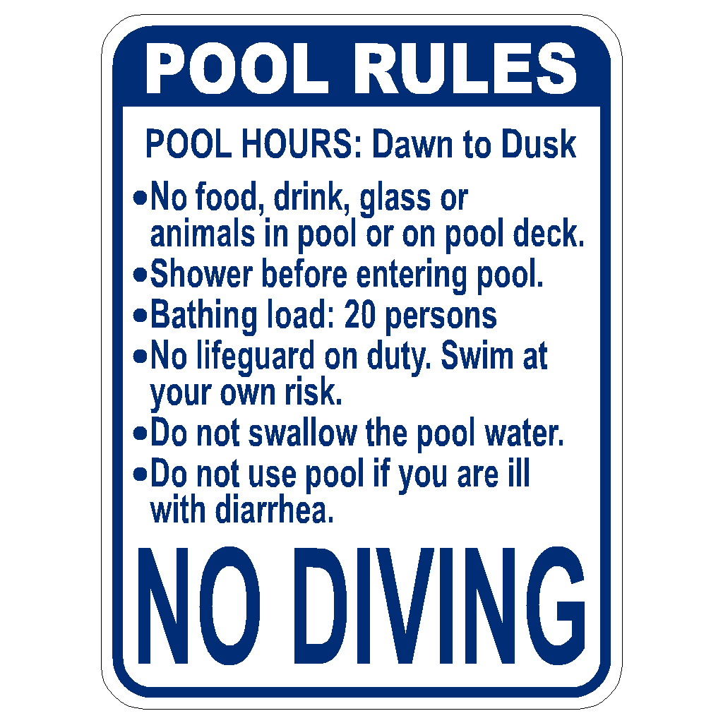standard pool rules sign for sale florida first sign