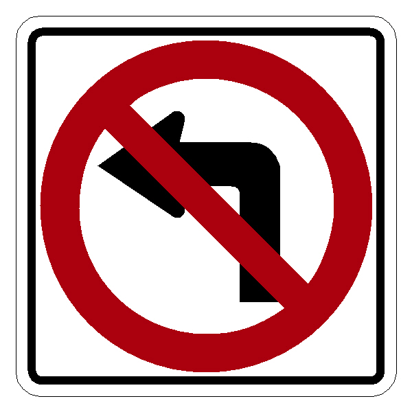 R3-2 No Left Turn Symbol Traffic Sign 24""