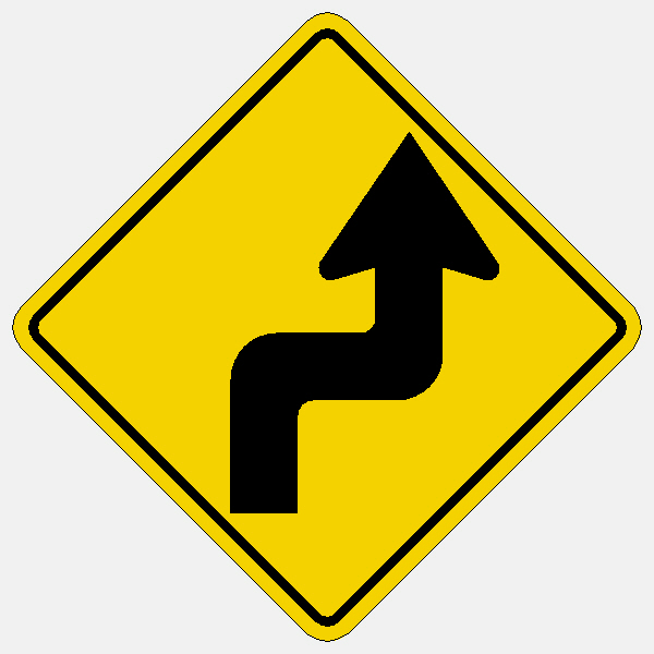 Reverse Turn Right Symbol Traffic Sign W1 3r Reflective Aluminum