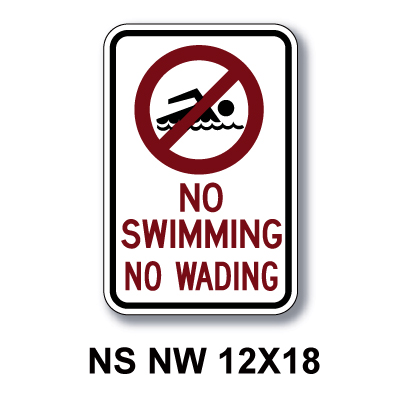 No Swimming No Wading 18 Quot X12 Quot