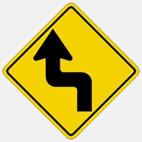 Left Winding Road Symbol Traffic sign W1-5L  30""