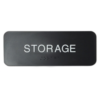 Storage sign with raised letters and Braille