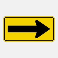 W1-6  LARGE ARROW WARNING SIGN