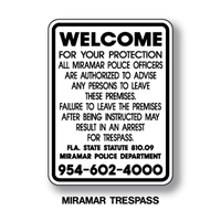 "Miramar Trespass Program Sign 24""x18"""