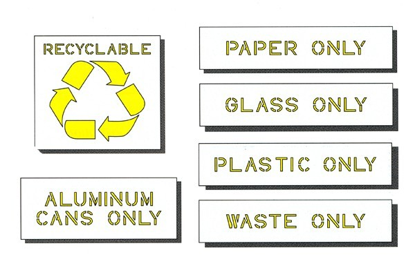 Recycle Stencil Kit - 6 Piece  includes Recycle Symbol,Aluminum Cans,Plastic, PAPER ONLY