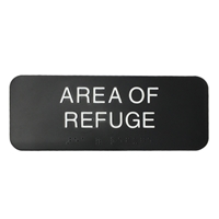 Area-of Refuge Building or Office Braille Sign, 3 x 8 Black  white text