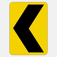 W1-8 Chevron Warning Sign  Yellow - Black