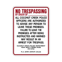 Coconut Creek Florida Police Trespass Program Sign