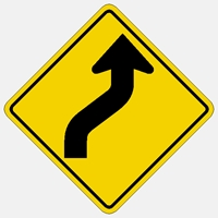 "W1-4R 30""- Traffic Sign Warns drivers that the road curves ahead to the right.   HIP Yellow with Black Symbol"
