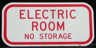 Electric Meter Room No storage Sign