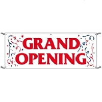 Grand Opening Banner 3 x10  with rope and grommets