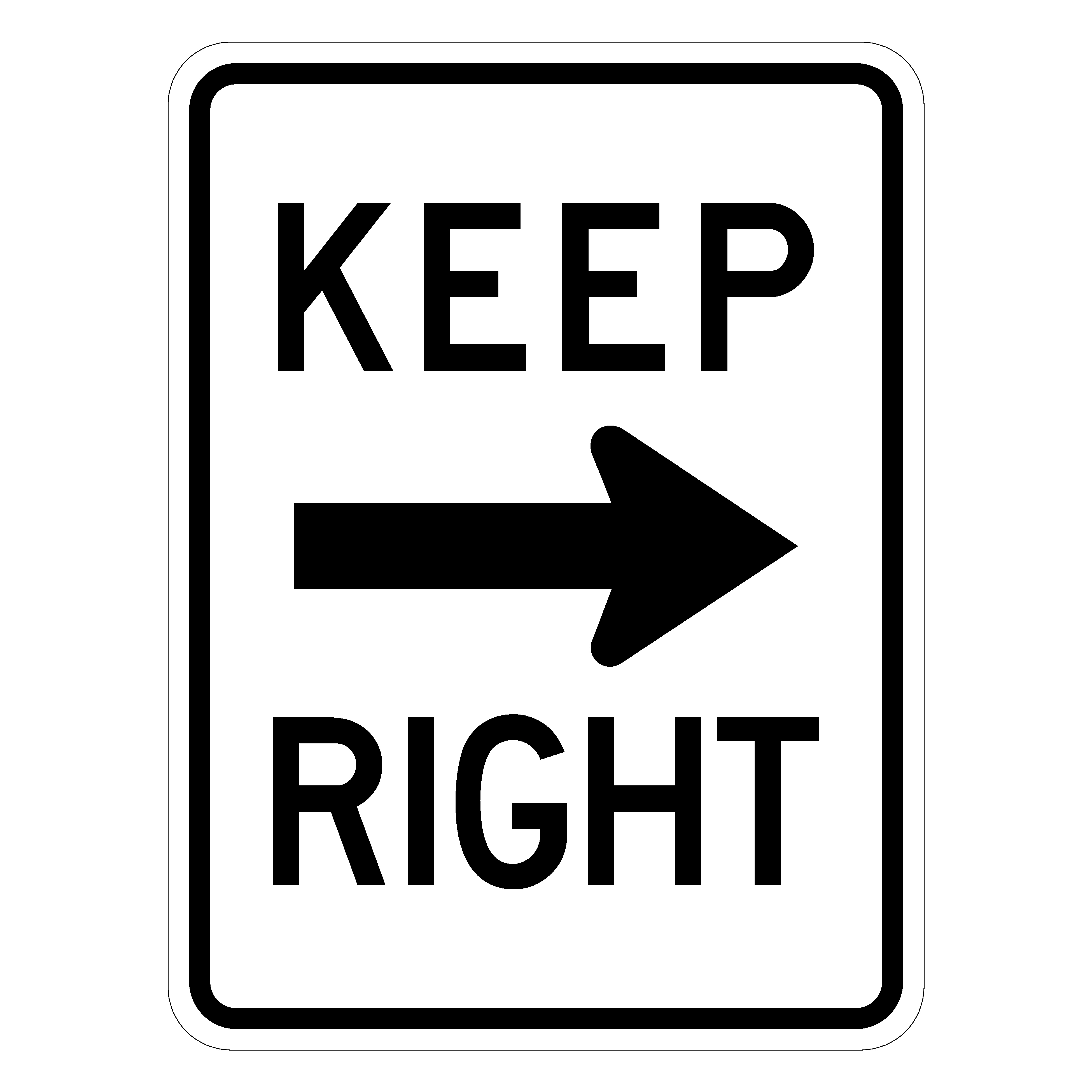 Keep Right w/ Right Arrow R4-7A Traffic Sign - R4-7A30 HIP