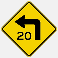 W1-1  Left turn warning sign with custom speed.