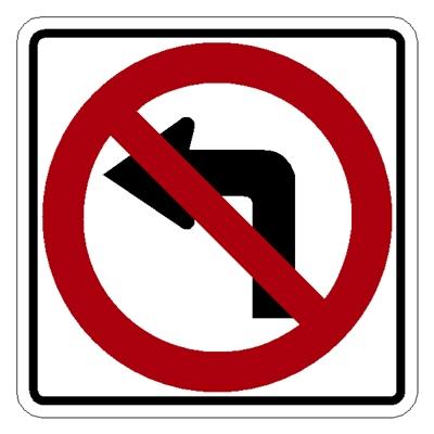 R3 2 Sign >> R3 2 No Left Turn Symbol Traffic Sign 24