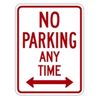 No Parking Any Time with double arrow - Aluminum Sign