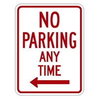 No No Parking Anytime Sign w/ Left ARROW R7-1L