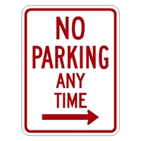 No Parking Any Time sign right arrow sign