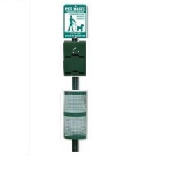 Pet waste Station with double bag holder-sign-post-waste receptacle