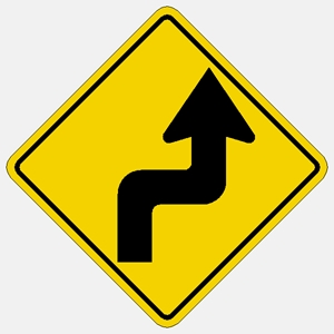 Right Curve 90 degree left Arrow Symbol Traffic sign W1-3R