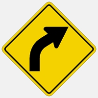 Right Curve Warning Sign W1-2R HIP