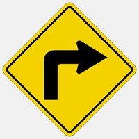 Right Turn Symbol warning Sign W1-1R