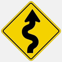 Right Winding Road Traffic sign W1-5R