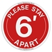 "Social Distancing Decal ""Please Stay 6' Apart"" Floor Decal / Sticker - SD-PS-6-A-FD-5.5"