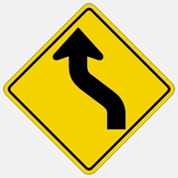 "W1-4L 30"" DIA.  Curves ahead to left Symbol"