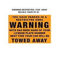 WARNING  Restricted Parking Tow Away Decal  25-Pk