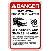 Danger Alligator and Snakes in Area Sign