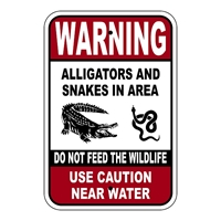 Warning Alligators and Snakes in Area Sign - .080  Reflective aluminum Warning  Alligators and Snakes in Area Sign,  Alligator and Snakes in Area  Use Caution near Water Sign,Alligator Area Sign, Danger Snakes Sign, Aluminum Alligator and Snakes, Reflective Alligators Snakes Sign