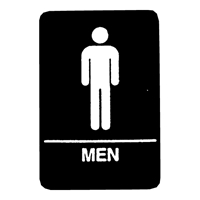 "Men Symbol Restoom Sign with Braille   9""x6"""