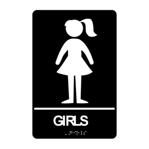 ADA Girls Restroom Braille Sign