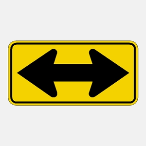 Double Arrow Traffic warning Sign