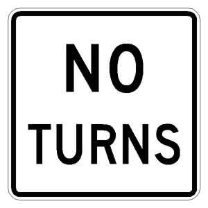 R3-3 No turns Traffic Sign