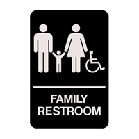 "Family Accessible Restroom 9 Braille Sign 9""x6"""