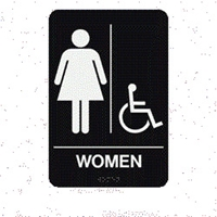"Women/HC Braille Restroom Sign 9""x6"""