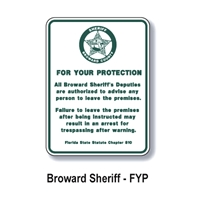 Broward County Sheriff Trespass Program Sign 24h x18w