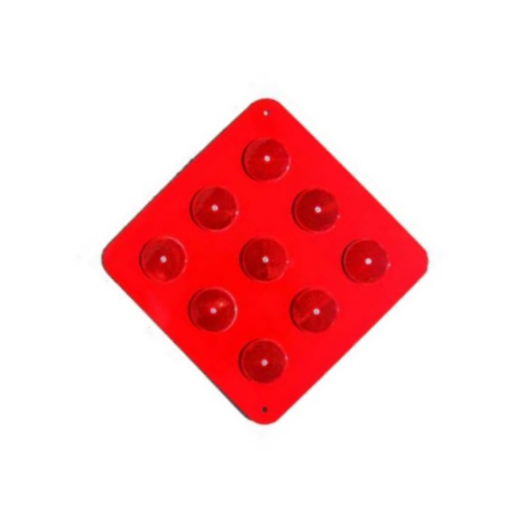 OM4-1 -18Red -  9-button Red - on Red Object Marker,  Road Hazard Marker