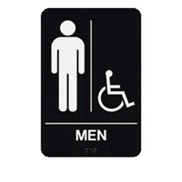 "Men/HC Restroom Sign with Braille   9""x6"""