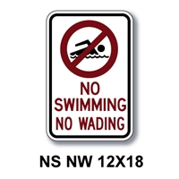 "No Swimming No Wading 18""x12"""