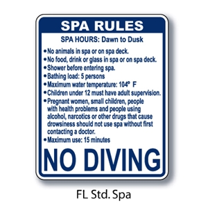 "Florida Standard Spa Rules 30""x24"""