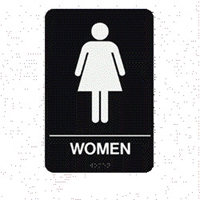 "Women Restroom Braille Sign 9""x6"""